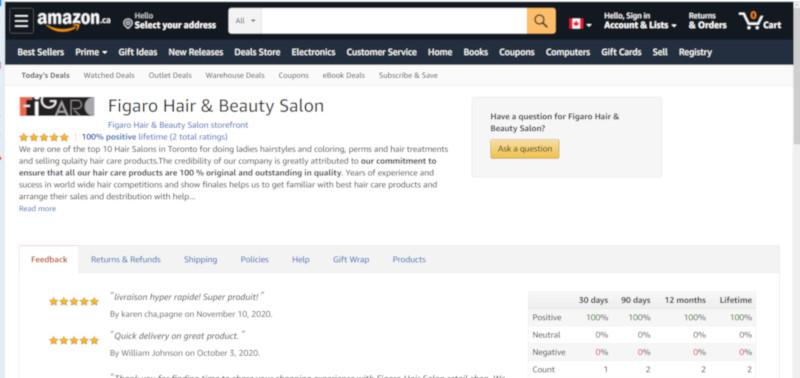 Figaro Salon store at Amazon Canada