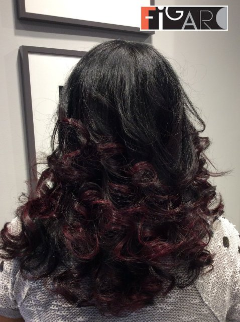 Purple and black balayage by Figaro - BEST TORONTO's HAIR SALON