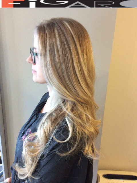 Blonde Hair Balayage Highlights by Figaro Salon