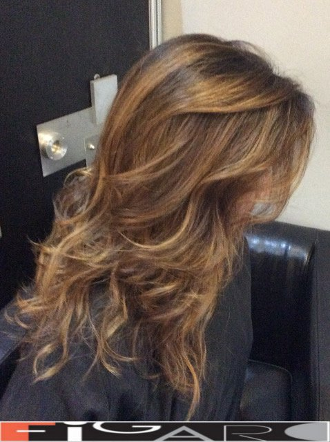 caramel balayage on dark brown hair by Figaro - BEST TORONTO's HAIR SALON