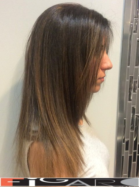 caramel balayage highlights for Brunette by Figaro - BEST TORONTO's HAIR SALON