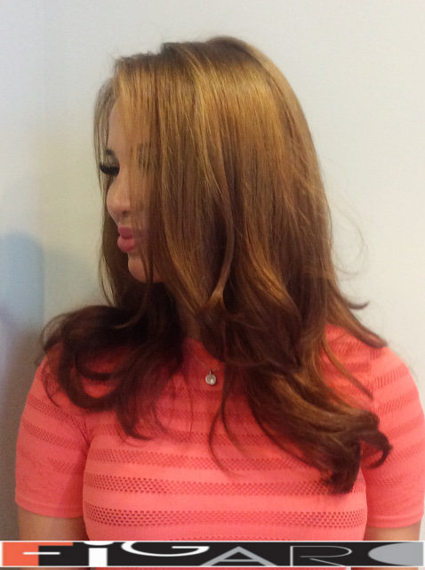 Soft caramel balayage highlights for Brunettes by by Figaro - BEST TORONTO's HAIR SALON