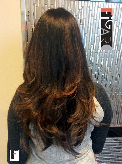 Dark Hair Balayage by Figaro - BEST TORONTO's HAIR SALON