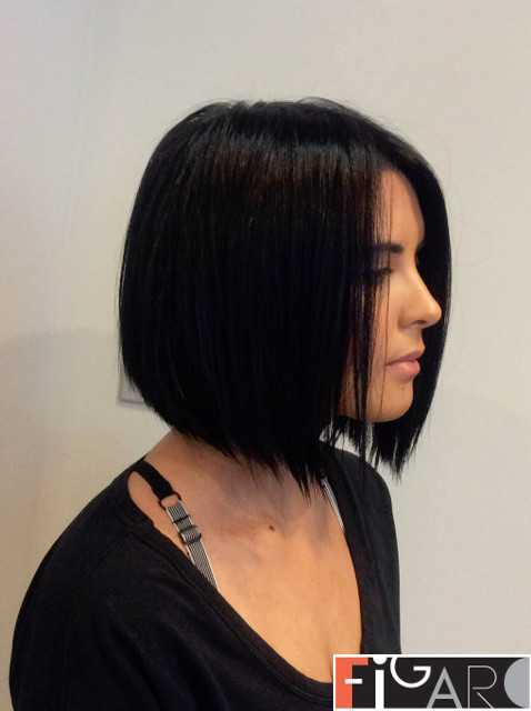 Graduated Bob Cut Dark Hair by figaro hair & beauty salon . best in toronto.gta