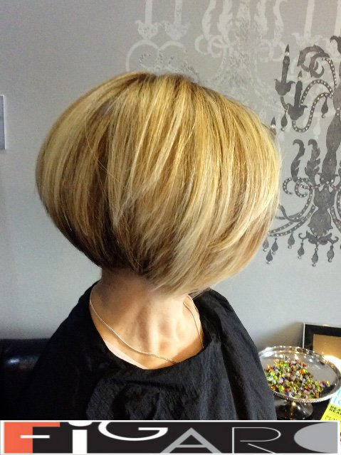 Highlights Lowlights Gradueated Bob Cut Haircut by Figaro - BEST TORONTO's HAIR SALON