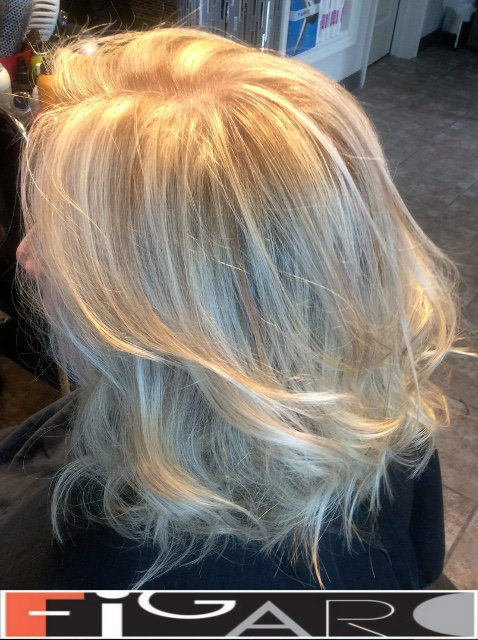 Platinum Highlights by Award winning  Figaro Salon-BEST in Toronto. We use Olaplex L'oreal Goldwell