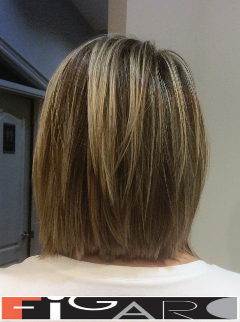 Highlights Lowlights Graduated Lob Cut for fine Hair by Figaro - BEST TORONTO's HAIR SALON