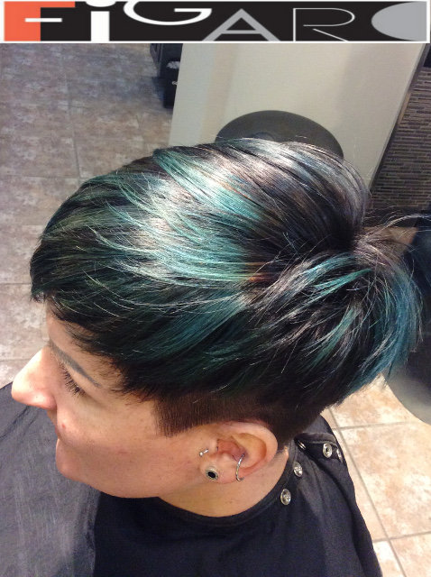 Undercut for Women Creative Green and Black color by Figaro - BEST TORONTO's HAIR SALON