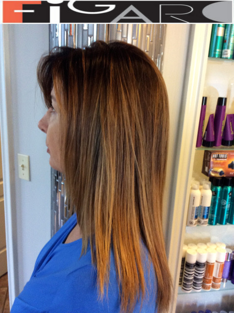 blonde for Brunets, Soft blonde, blonde Highlights for Brunet done by figaro salon
