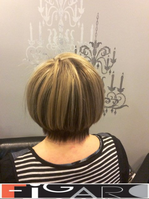Platinum Streaks Dirty Blonde Lowlights, Bob cut by Figaro - BEST TORONTO's HAIR SALON