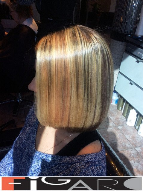 Soft Pink, Platinum Blonde Streaks Dirty Blonde Hair, Lob Cut by Figaro - BEST TORONTO's HAIR SALON