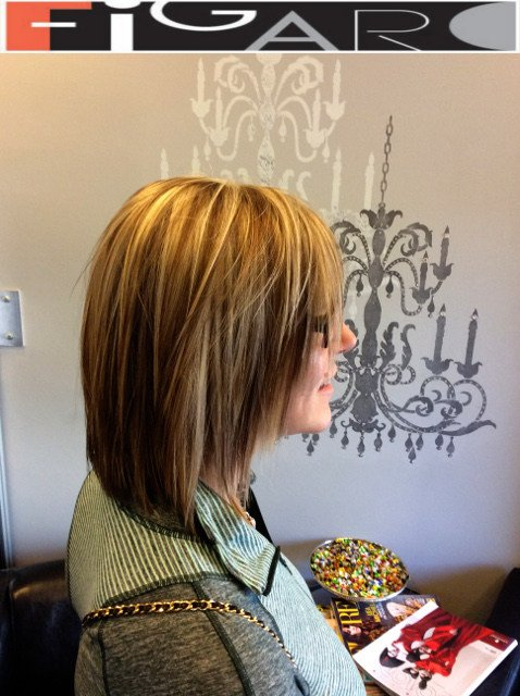 Medium Brown hair with Blonde Highlights by Figaro - BEST TORONTO's HAIR SALON