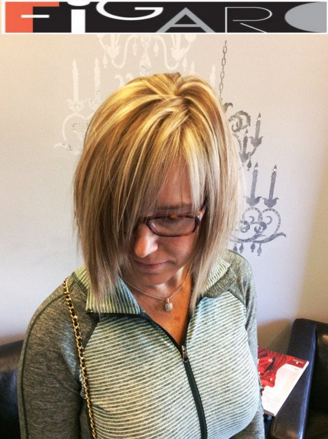 Medium Brown Hair with Chunky Blonde highlights by Figaro - BEST TORONTO's HAIR SALON