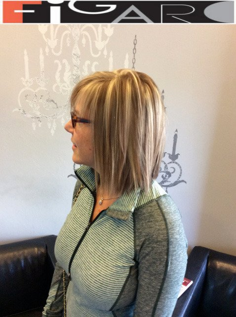 Medium Brown Hair with Platiuum Blonde Streaks, Lob Cut by Figaro - BEST TORONTO's HAIR SALON