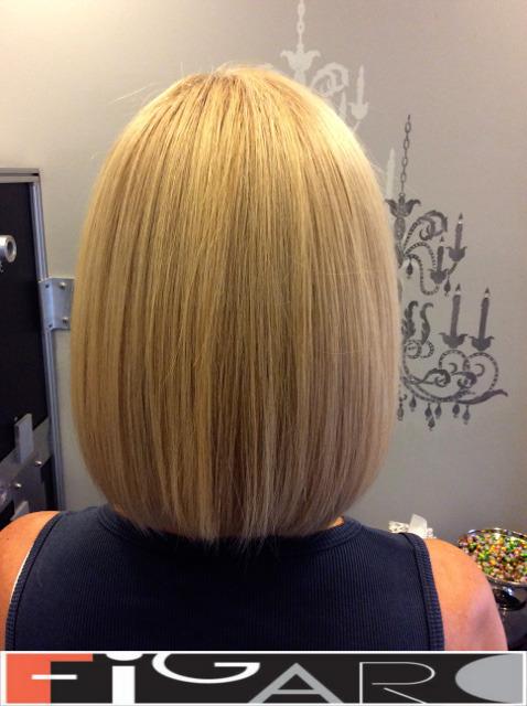 Platinum HighLights Lob Cut Figaro Hair Salon Toronto