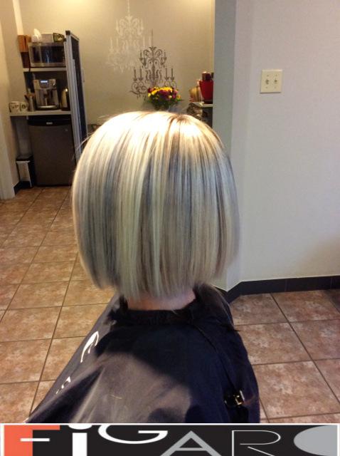 Platinum Streaks Bob Cut Figaro Hair Salon Toronto