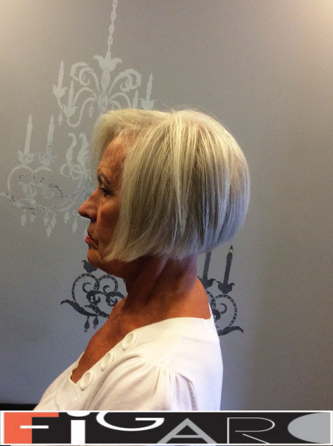 Icy blonde Layered short Bob Cut Figaro Hair Salon Toronto