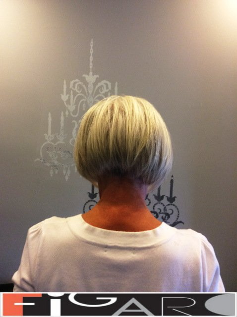 Silver blonde Layered short Bob Cut by figaro salon