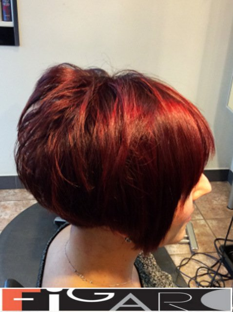 Red Highlights Purple Base Short Layered Bob Cut by Figaro - BEST TORONTO's HAIR SALON