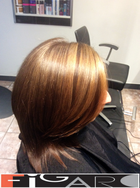 Honey Caramel Highligts on light Brown Base, Layered Bob Cut Figaro Hair Salon Toronto