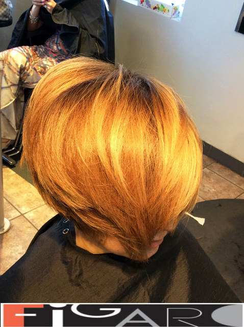 Gold Highlights, Balayage on copper hair, Asymmetrical short Layered Bob Cut by figaro salon Toronto