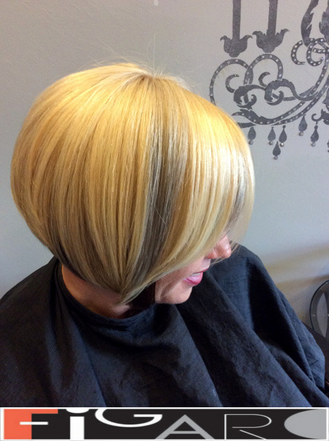 Blonde Hair Bob Cut by Figaro Hair Salon Toronto