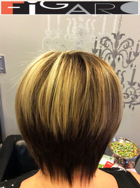 Platinum HighLights on Dark Hair, Short Layered Cut Figaro Hair Salon Toronto