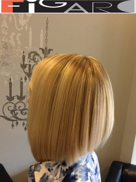 Bob Cut HighLights Streaks Figaro Hair Salon Toronto