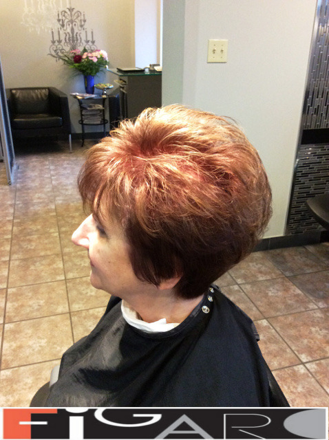 Short Layered Hair Cut Best color cut in Toronto done by figaro salon