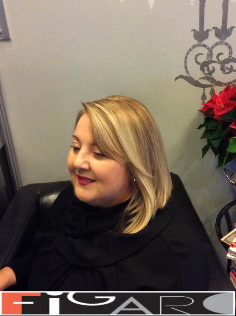 Lob Cut Side Bangs blonde Streaks Figaro Hair Salon Toronto