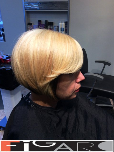 Blonde Hair Bob Cut Side Bangs Figaro Hair Salon Toronto