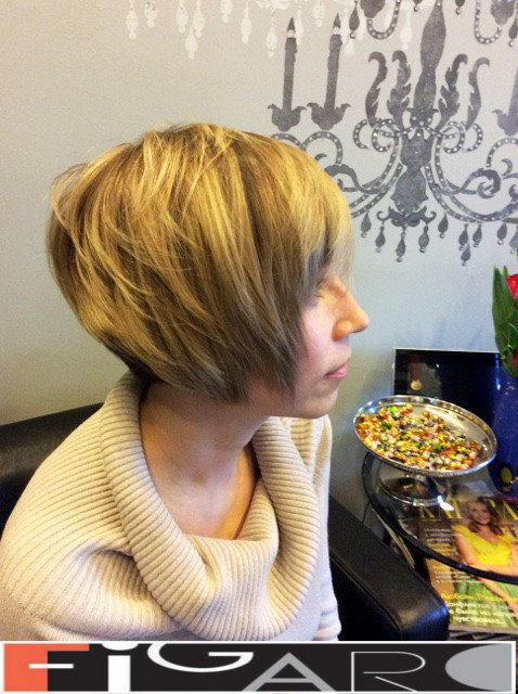 blonde Streaks Short Layered Bob Cut Figaro Hair Salon Toronto