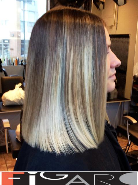 Lob Cut Balayage Hair Figaro Hair Salon Toronto