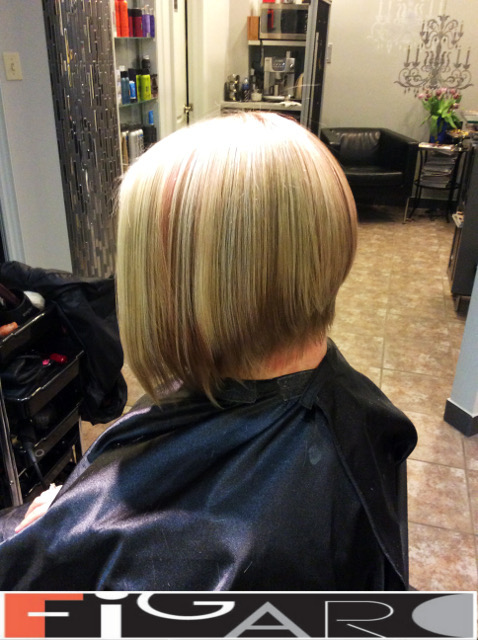 Blonde HighLights Bob Cut Figaro Hair Salon Toronto