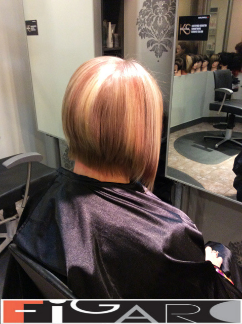 Blonde HighLights Bob Cut Pinky Rose by figaro salon Toronto