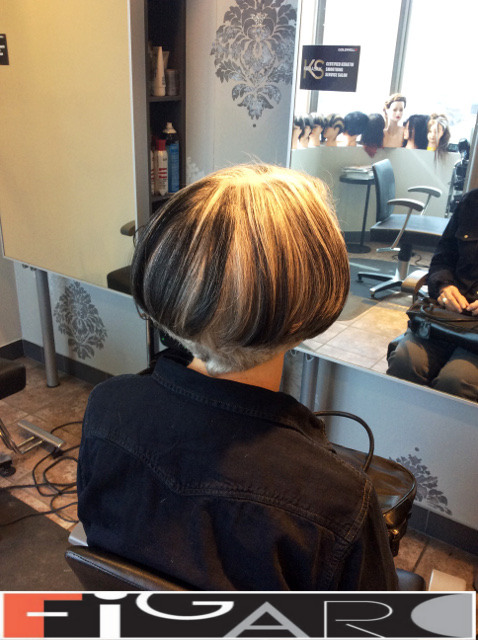 Black Streaks on Silver hair Bob Cut Figaro Hair Salon Toronto