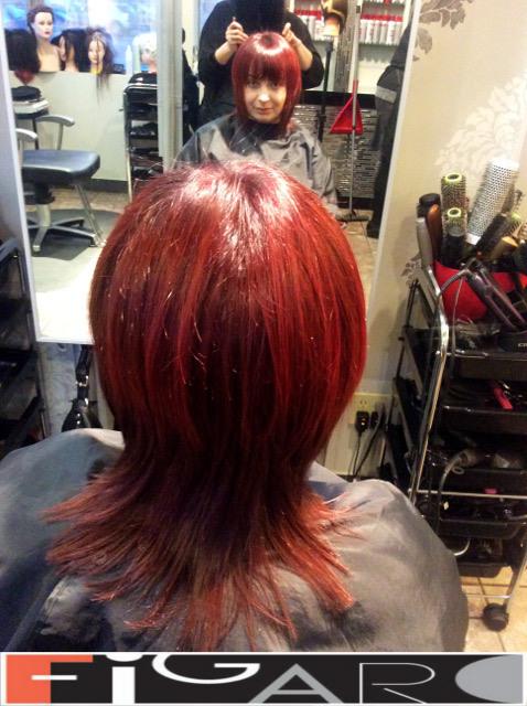 Layered medium length Hair Cut Red Streaks Figaro Hair Salon Toronto
