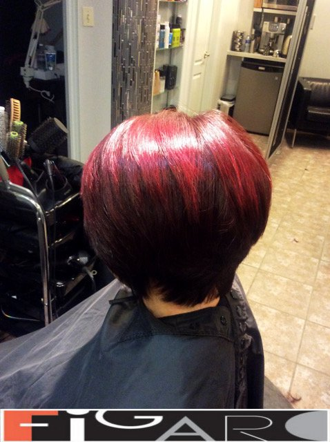Layered Short Bob Cut Red Balayage on Top by Figaro - BEST TORONTO's HAIR SALON