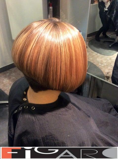 Rose Caramel and Honey blonde Highlights Bob Cut Figaro Hair Salon Toronto