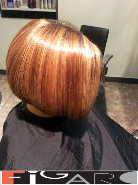 Rose Caramel and Honey blonde Streaks Bob Cut Figaro Hair Salon Toronto