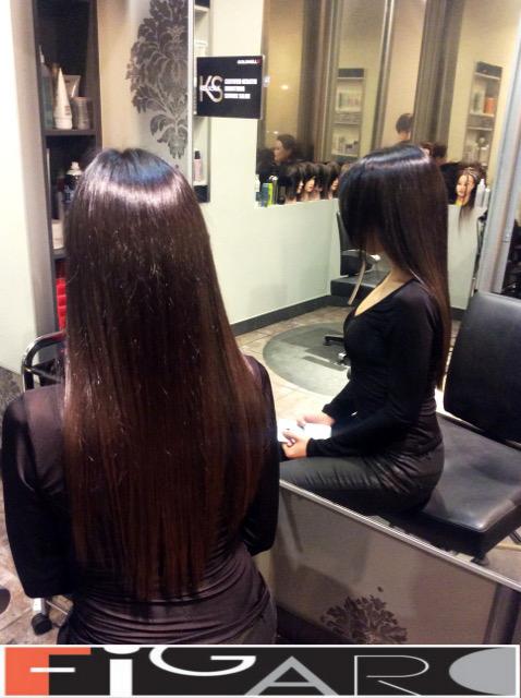 Long Hair Dark Chocolate Brawn color Figaro Hair Salon Toronto