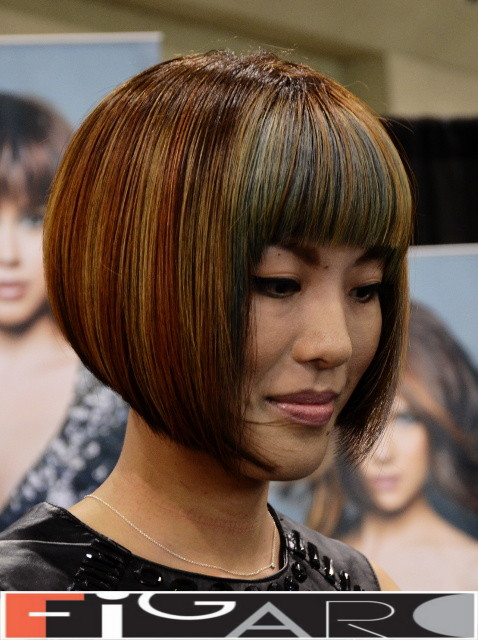 Bob Cut Asian Hair w. Blonde Rose & Grey Streaks by Figaro Hair Salon Director