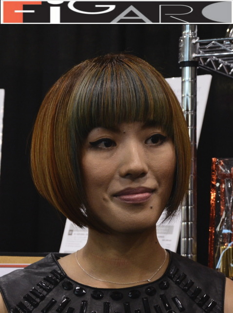 Bob Cut with Blonde Rose and Grey streaks Figaro Hair Salon Toronto