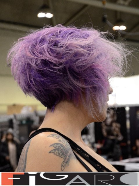 Lavender with Pink and Platinum Blonde Funky Messy short Bob Cut Figaro Hair Salon Toronto