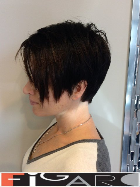 Short Asymmetrical Pixie hair cut by Figaro Hair Salon Toronto