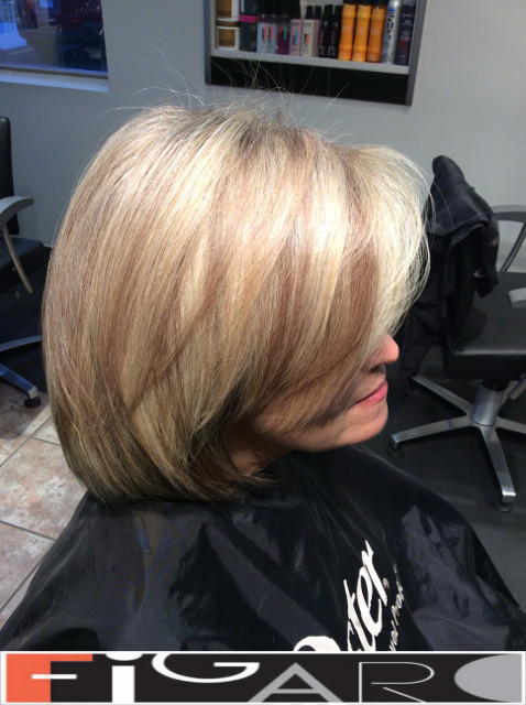 Caramel Streaks on Blonde Hair, Layered Bob Figaro Hair Salon Toronto