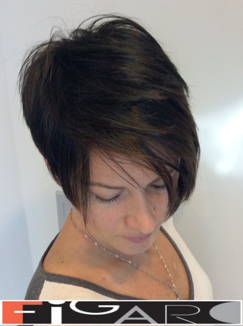 Short Asymmetrical Pixie cut by Figaro Hair Salon Toronto