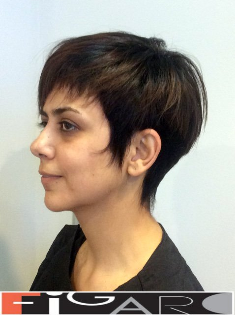 Short pixie hair cut for Brunette by Figaro Hair Salon Toronto