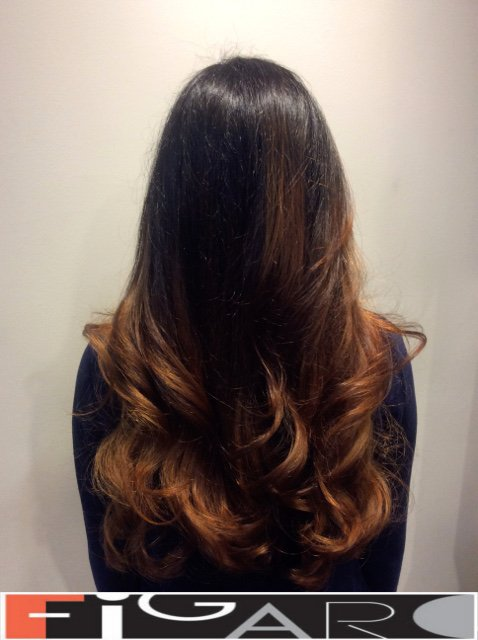 balayage hair Dark Caramel and Brown by Figaro - BEST TORONTO's HAIR SALON