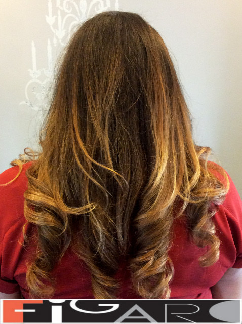 Honey Brown Ombre balayageon dark hair by Figaro - BEST TORONTO's HAIR SALON